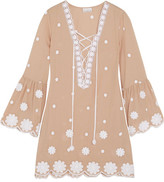 Miguelina Laure Embroidered Cotton Mini Dress - Sand