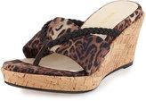 Taryn Rose Keely Leopard-Print Wedge Sandal, Brown/Multi