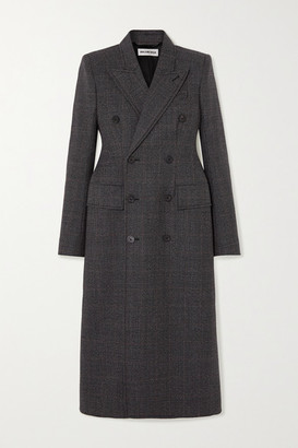 Balenciaga Double-breasted Prince Of Wales Checked Wool Coat - Gray