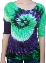 Rockin' Cactus Clothing Rockin' Cactus Women's(Reg)3/4 Sleeve Tie Dye Shirt-2X