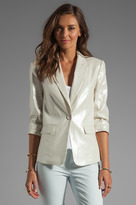 Alice + Olivia One Button Ruched Sleeve Blazer