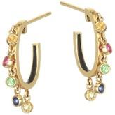 Nayla Arida 18K Gold Multi-Color Sapphire & Tsavorite Dangle Hoop Earrings
