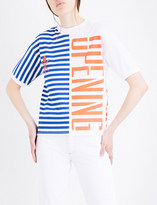 Opening Ceremony Half-striped logo-printed cotton-jersey T-shirt