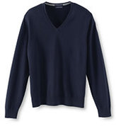 Lands' End Men's Big Supima Cotton V-neck Sweater-Dark Washed Teal