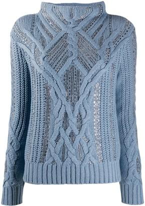 Ermanno Scervino Crystal-Embellished Cable Knit Jumper
