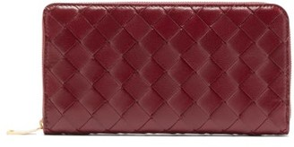 Bottega Veneta Intrecciato-leather Wallet - Womens - Burgundy