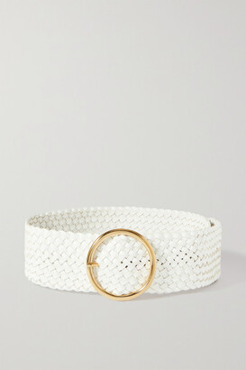 Andersons Woven Leather Waist Belt - White