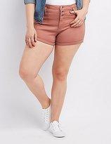 Charlotte Russe Plus Size Refuge Hi-Waist Shortie Denim Shorts