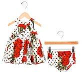 Dolce & Gabbana Girls' Rose Print Gathered Dress Set