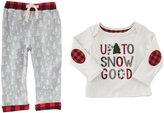 Mud Pie Baby Boys Newborn-18 Months Christmas Up To Snow Good Tee & Pant Set