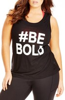 City Chic Plus Size Women's 'Be Bold' Mesh Inset Graphic Tank
