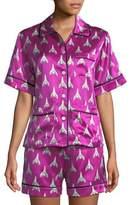 Olivia Von Halle Millicent Marty Silk Shorty Pajama Set