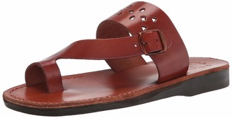 Jerusalem Sandals Mens Ezra Brown Durable Handcrafted Real Leather Sandals Slide Sandals for Men with Thong Toe Buckle Vamp Strap Textured Sole Waterproof Size 13 US