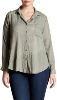 Lush Woven Long Sleeve Button Front Blouse (Plus Size)