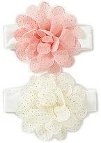 Starting Out Baby Girls 2-Pack Silk Chiffon Glitter Flower Headbands