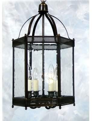 Chearsley 4 - Light Lantern Geometric Pendant Darby Home Co Finish: Antique Brass
