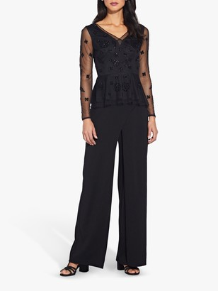 Adrianna Papell Beaded Long Sleeve Top, Black