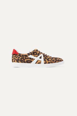 Aquazzura The A Leather-trimmed Leopard-print Suede Sneakers - Leopard print