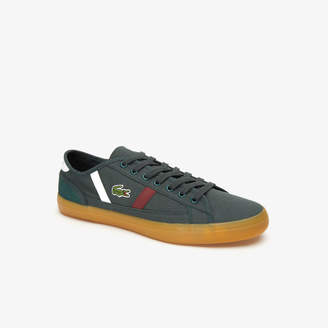 Lacoste Men's Sideline Canvas and Two-Tone Leather Sneakers