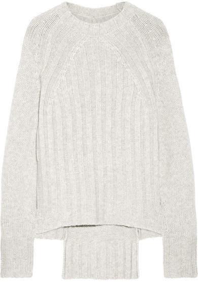 Nili Lotan Everly Ribbed Cashmere Sweater - Light gray