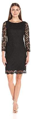 Tiana B T I A N A B. Women's Floral Chemical Lace Sheath Dress 3/4 Sleeves