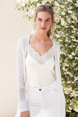Next Womens White Longline Stitch Cardigan