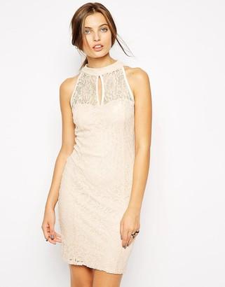 Jessica Wright High Neck Lace Dress-Pink
