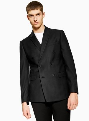 Topman Black Slim Fit Textured Double Breasted Suit Blazer With Peak Lapels