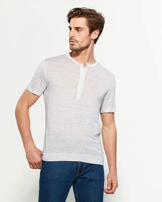 120% Lino Button Placket Short Sleeve Linen Tee