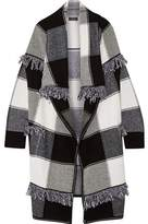 Burberry Fringed Checked Wool And Cashmere-Blend Cardigan