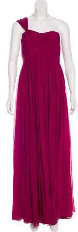 Marchesa Silk One-Shoulder Dress