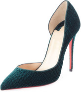 Christian Louboutin Iriza Embossed Velvet 100mm Red Sole Pump, Green