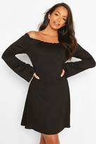 boohoo Bardot Fit & Flare Dress With Fluted Edge