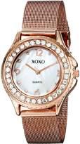 XOXO Women's XO5553 Rosegold-Tone Mesh Bracelet Rhinestones Accent Watch