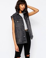 Asos Denim Girlfriend Vest Jacket In Washed Black