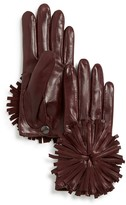 Maison Fabre Short Leather Gloves with Fringe Pom