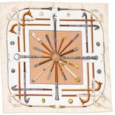 Hermes Cannes & Pommeaux Silk Pocket Square