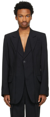 Situationist SSENSE Exclusive Black Pleated Collar Blazer