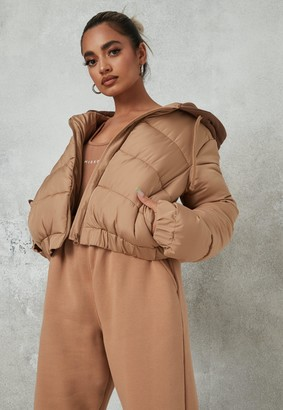 Missguided Petite Camel Jersey Hooded Puffer Coat