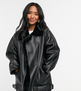 ASOS DESIGN Petite borg aviator jacket in black