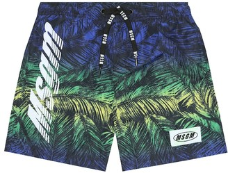 Msgm Kids Printed swim trunks