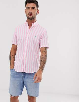 Polo Ralph Lauren bold stripe short sleeve poplin shirt classic fit button down player logo in pink/white