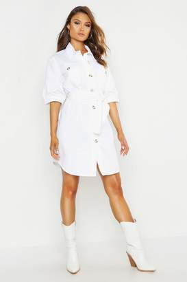 boohoo Balloon Sleeve Denim Belted Dress