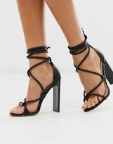 Truffle Collection tie leg heeled sandals in black