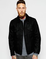 Lee Wool Jacket Zip Front Quilted Lining