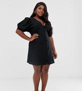 DESIGN Curve plunge neck casual button through mini skater dress-Black