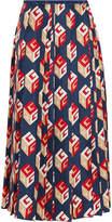 Gucci Pleated Printed Silk-twill Midi Skirt - Navy