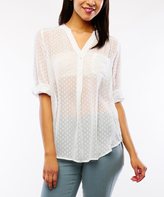 White Swiss Dot Button-Front Top