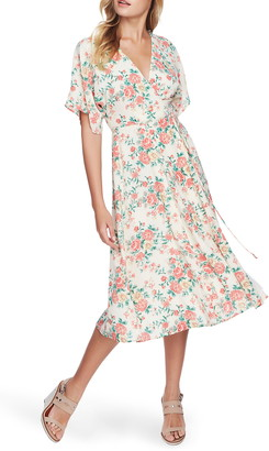 1 STATE Ikat Bouquet Midi Wrap Dress