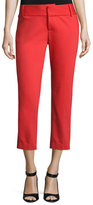 Alice + Olivia Cadence Cropped Cigarette Trousers, Bright Red